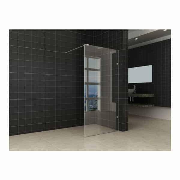 Inloopdouche douchewand zonder muurprofiel sanitairkiezer - Glas betegelde badkamer bad ...