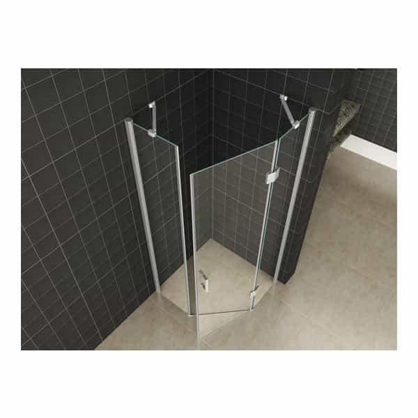 douchecabine vijfhoekig met veiligheidsglas sanitairkiezer