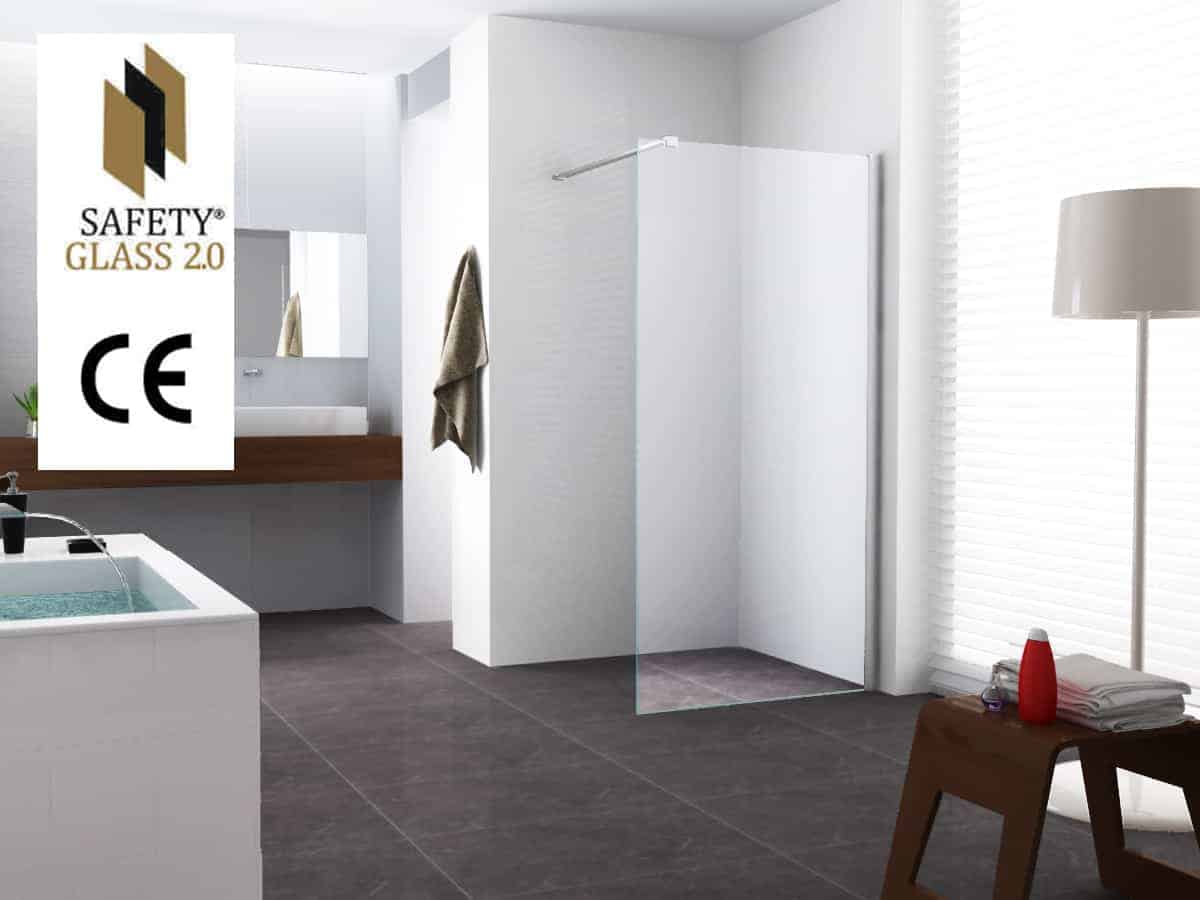 Inloopdouche Met Kraan : Inloopdouche douchewand safety glass sanitairkiezer