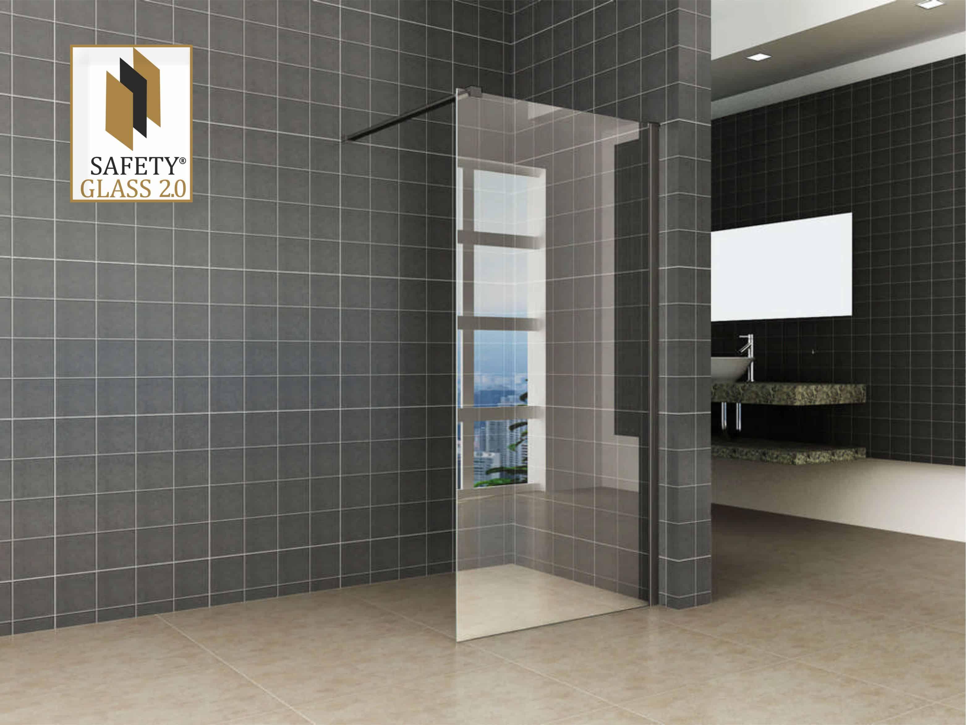 Inloopdouche Zonder Glas : Inloopdouche safety glass met zwarte profielen sanitairkiezer