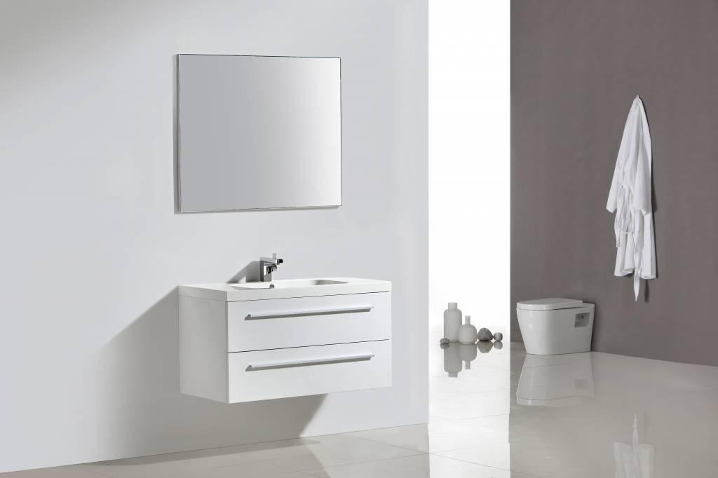 Badmeubel lilium rn100 wit hoogglans set met spiegel sanitairkiezer